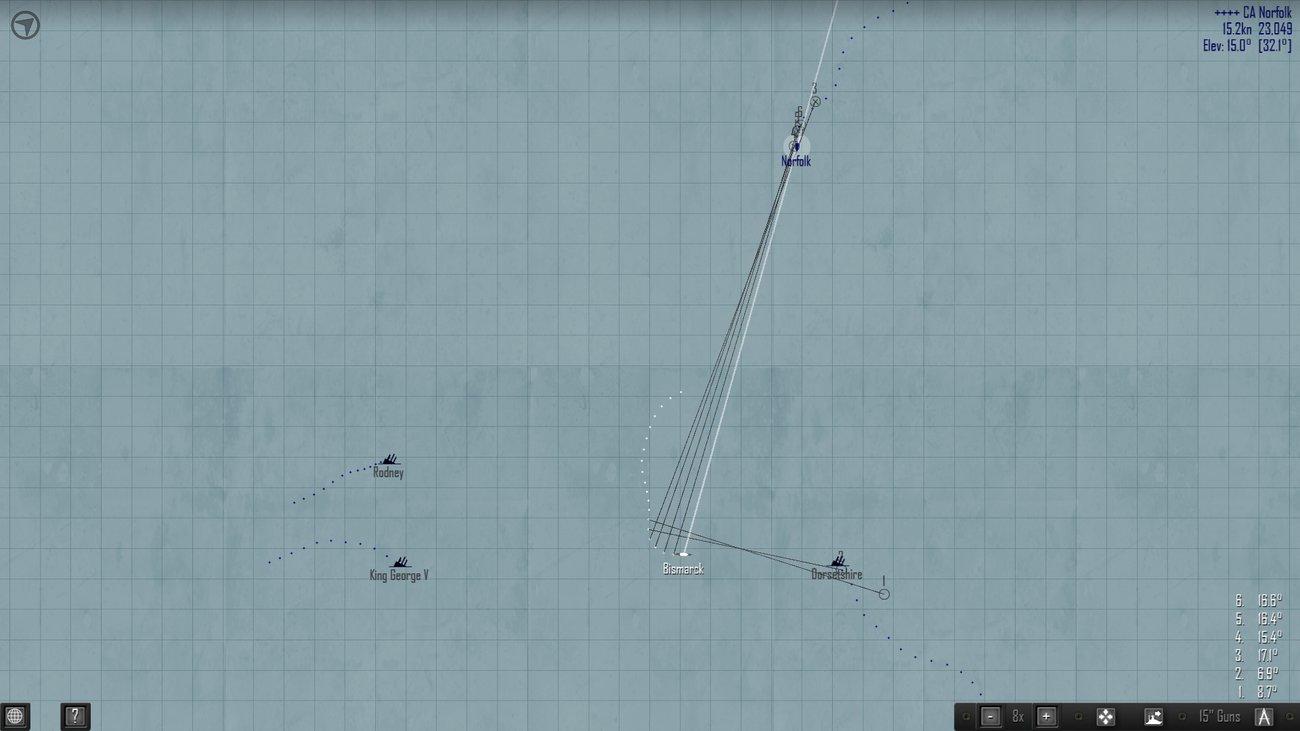 AtlanticFleet - тактический вид к концу сражения. Один британец еще цел.