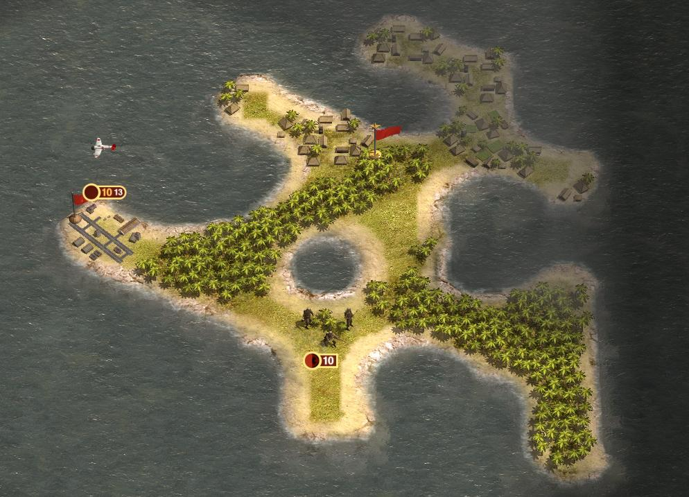 """Скриншот показывает случайным образом сгенерированную островную часть карты """"Sea of Isles"""" рандомного типа для skirmish-режима. Также заметим, что флаги и эмблемы в этом режиме используют цвета игрока, вместо обычных национальных флагов. Так проще идентифицировать различных игроков."""