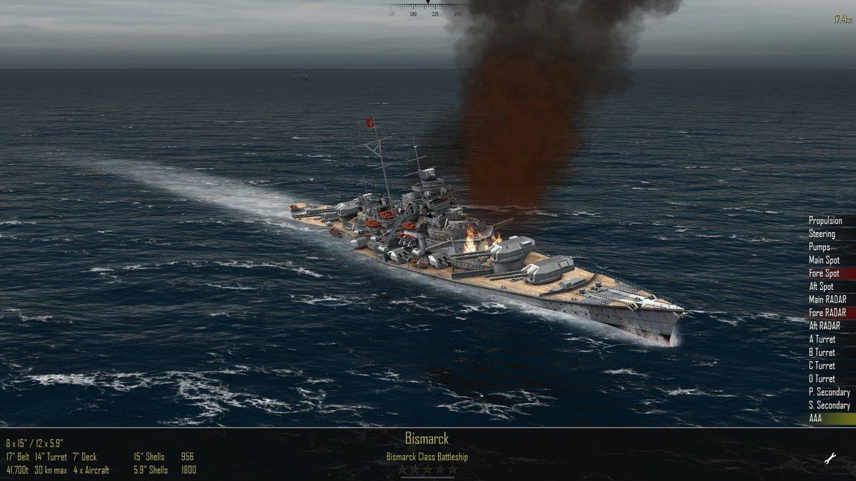 AtlanticFleet - поврежнения Бисмарка в начале боя
